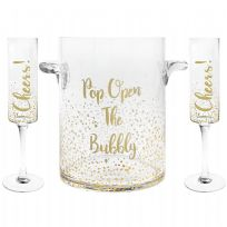 Set Of 2 'Cheers' Flutes & 'Open The Bubble' Ice Bucket